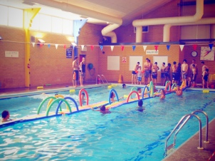 Spontaneous challenges such as the 'rainbow road' at swimming.